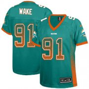 Wholesale Cheap Nike Dolphins #91 Cameron Wake Aqua Green Team Color Women's Stitched NFL Elite Drift Fashion Jersey