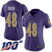 Wholesale Cheap Nike Ravens #48 Patrick Queen Purple Women's Stitched NFL Limited Rush 100th Season Jersey