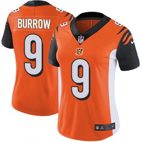 Wholesale Cheap Nike Bengals #9 Joe Burrow Orange Alternate Women\'s Stitched NFL Vapor Untouchable Limited Jersey