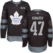 Wholesale Cheap Adidas Maple Leafs #47 Leo Komarov Black 1917-2017 100th Anniversary Stitched NHL Jersey