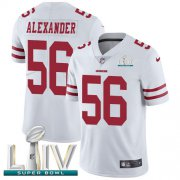 Wholesale Cheap Nike 49ers #56 Kwon Alexander White Super Bowl LIV 2020 Youth Stitched NFL Vapor Untouchable Limited Jersey