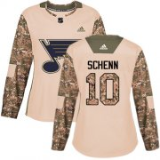 Wholesale Cheap Adidas Blues #10 Brayden Schenn Camo Authentic 2017 Veterans Day Women's Stitched NHL Jersey