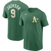 Wholesale Cheap Oakland Athletics #9 Reggie Jackson Nike Cooperstown Collection Name & Number T-Shirt Green