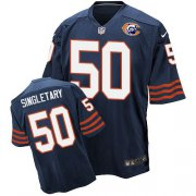 Wholesale Cheap Nike Bears #50 Mike Singletary Navy Blue Throwback Men's Stitched NFL Elite Jersey