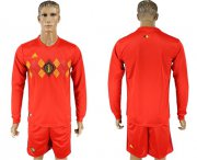 Wholesale Cheap Belgium Blank Red Home Long Sleeves Soccer Country Jersey