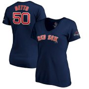 Wholesale Cheap Boston Red Sox #50 Mookie Betts Majestic Women's 2019 Gold Program Name & Number V-Neck T-Shirt Navy