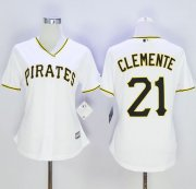 Wholesale Cheap Pirates #21 Roberto Clemente White Women's Home Stitched MLB Jersey
