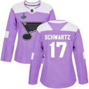 Wholesale Cheap Adidas Blues #17 Jaden Schwartz Purple Authentic Fights Cancer Stanley Cup Champions Women's Stitched NHL Jersey