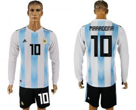 Wholesale Cheap Argentina #10 Maradona Home Long Sleeves Soccer Country Jersey
