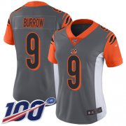 Wholesale Cheap Nike Bengals #9 Joe Burrow Silver Women's Stitched NFL Limited Inverted Legend 100th Season Jersey