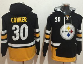 Wholesale Cheap Nike Steelers #30 James Conner Black/Gold Name & Number Pullover NFL Hoodie