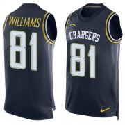 Wholesale Cheap Nike Chargers #81 Mike Williams Navy Blue Team Color Men's Stitched NFL Limited Tank Top Jersey
