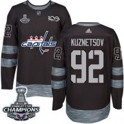 Wholesale Cheap Adidas Capitals #92 Evgeny Kuznetsov Black 1917-2017 100th Anniversary Stanley Cup Final Champions Stitched NHL Jersey