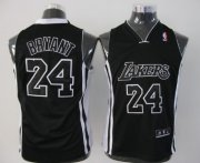 Cheap Los Angeles Lakers #24 Kobe Bryant All Black With White Kids Jersey