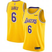 Cheap Youth Lakers #6 LeBron James Gold Basketball Swingman Icon Edition Jersey
