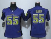 Wholesale Cheap Nike Vikings #55 Anthony Barr Purple Team Color Women's Stitched NFL Elite Strobe Jersey