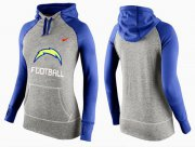 Wholesale Cheap Women's Nike Los Angeles Chargers Performance Hoodie Grey & Blue_1