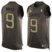 Wholesale Cheap Nike Saints #9 Drew Brees Green Men's Stitched NFL Limited Salute To Service Tank Top Jersey