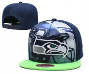 Wholesale Cheap Seahawks Team Logo Navy Adjustable Leather Hat TX