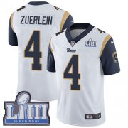 Wholesale Cheap Nike Rams #4 Greg Zuerlein White Super Bowl LIII Bound Youth Stitched NFL Vapor Untouchable Limited Jersey