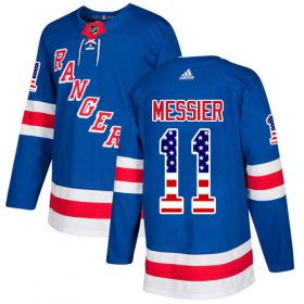 Wholesale Cheap Adidas Rangers #11 Mark Messier Royal Blue Home Authentic USA Flag Stitched Youth NHL Jersey
