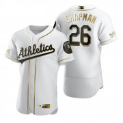 Wholesale Cheap Oakland Athletics #26 Matt Chapman White Nike Men's Authentic Golden Edition MLB Jersey