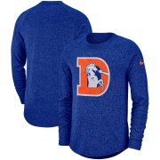 Wholesale Cheap Denver Broncos Nike Fan Gear Marled Historic Raglan Long Sleeve T-Shirt Royal