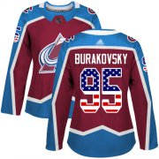 Wholesale Cheap Adidas Avalanche #95 Andre Burakovsky Burgundy Home Authentic USA Flag Women's Stitched NHL Jersey