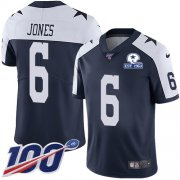 Wholesale Cheap Nike Cowboys #6 Chris Jones Navy Blue Thanksgiving Men's Stitched With Established In 1960 Patch NFL 100th Season Vapor Untouchable Limited Throwback Jersey