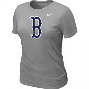 Wholesale Cheap Women's MLB Boston Red Sox Heathered Nike Blended T-Shirt Light Grey