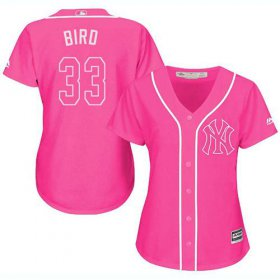 Wholesale Cheap Yankees #33 Greg Bird Pink Fashion Women\'s Stitched MLB Jersey