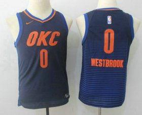 Cheap Youth Oklahoma City Thunder #0 Russell Westbrook Navy Blue 2017-2018 Nike Swingman Stitched NBA Jersey
