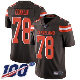 Wholesale Cheap Nike Browns #78 Jack Conklin Brown Team Color Youth Stitched NFL 100th Season Vapor Untouchable Limited Jersey
