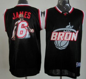 Wholesale Cheap Miami Heat #6 LeBron James Black Notorious Fashion Jersey