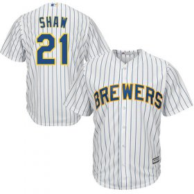 Wholesale Cheap Brewers #21 Travis Shaw White Strip Cool Base Stitched Youth MLB Jersey