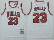 Wholesale Cheap Men's Chicago Bulls #23 Michael Jordan 1997-98 White Hardwood Classics Soul Swingman Throwback Jersey