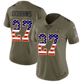 Wholesale Cheap Nike Ravens #27 J.K. Dobbins Olive/USA Flag Women\'s Stitched NFL Limited 2017 Salute To Service Jersey