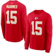 Wholesale Cheap Kansas City Chiefs #15 Patrick Mahomes Nike Player Name & Number Long Sleeve T-Shirt Red