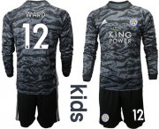 Wholesale Cheap Leicester City #12 Ward Black Goalkeeper Long Sleeves Kid Soccer Club Jersey