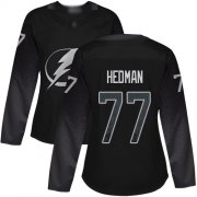 Wholesale Cheap Adidas Lightning #77 Victor Hedman Black Alternate Authentic Women's Stitched NHL Jersey