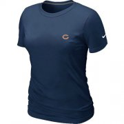Wholesale Cheap Women's Nike Chicago Bears Chest Embroidered Logo T-Shirt Dark Blue
