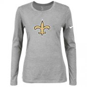 Wholesale Cheap Women's Nike New Orleans Saints Of The City Long Sleeve Tri-Blend NFL T-Shirt Light Grey