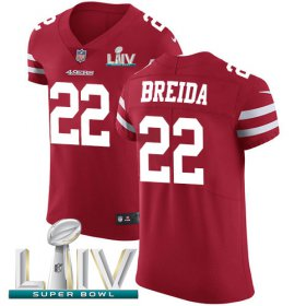 Wholesale Cheap Nike 49ers #22 Matt Breida Red Super Bowl LIV 2020 Team Color Men\'s Stitched NFL Vapor Untouchable Elite Jersey