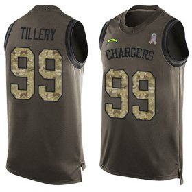 Wholesale Cheap Nike Chargers #99 Jerry Tillery Green Men\'s Stitched NFL Limited Salute To Service Tank Top Jersey
