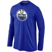 Wholesale Cheap NHL Edmonton Oilers Big & Tall Logo Long Sleeves T-Shirt Blue