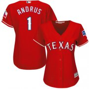 Wholesale Cheap Rangers #1 Elvis Andrus Red Alternate Women's Stitched MLB Jersey