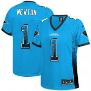 Wholesale Cheap Nike Panthers #1 Cam Newton Blue Alternate Women's Stitched NFL Elite Drift Fashion Jersey