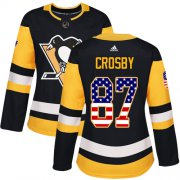 Wholesale Cheap Adidas Penguins #87 Sidney Crosby Black Home Authentic USA Flag Women's Stitched NHL Jersey