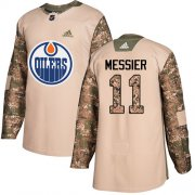 Wholesale Cheap Adidas Oilers #11 Mark Messier Camo Authentic 2017 Veterans Day Stitched NHL Jersey