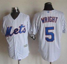 Wholesale Cheap Mets #5 David Wright White(Blue Strip) New Cool Base Stitched MLB Jersey